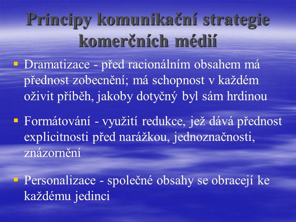 Principy komunikační strategie komerčních médií   Dramatizace - před racionálním obsahem má přednost zobecnění; má schopnost v každém oživit příběh, jakoby dotyčný byl sám hrdinou  Formátování - využití redukce, jež dává přednost explicitnosti před narážkou, jednoznačnosti, znázornění  Personalizace - společné obsahy se obracejí ke každému jedinci