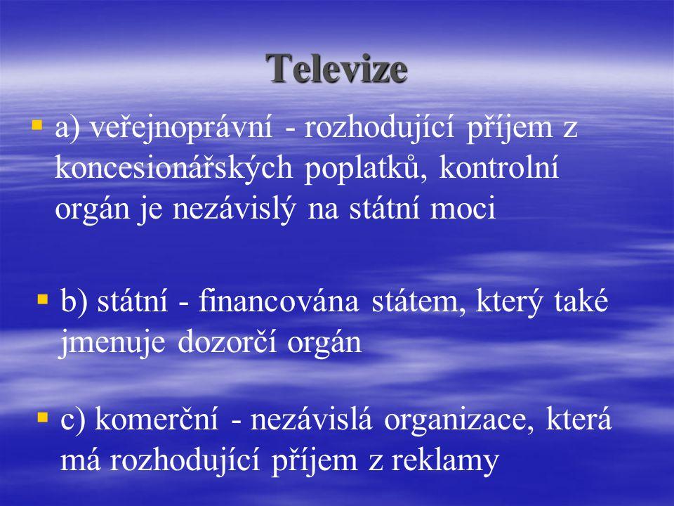 Televize   a) veřejnoprávní - rozhodující příjem z koncesionářských poplatků, kontrolní orgán je nezávislý na státní moci  b) státní - financována státem, který také jmenuje dozorčí orgán  c) komerční - nezávislá organizace, která má rozhodující příjem z reklamy