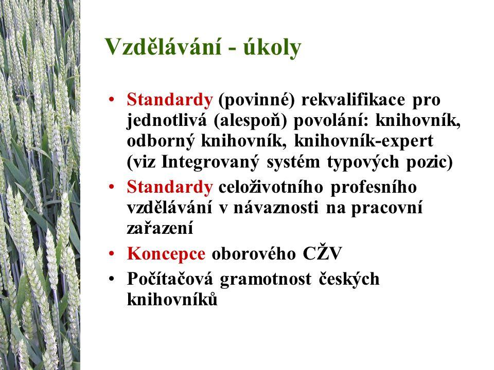 Vzdělávání - úkoly Standardy (povinné) rekvalifikace pro jednotlivá (alespoň) povolání: knihovník, odborný knihovník, knihovník-expert (viz Integrovaný systém typových pozic) Standardy celoživotního profesního vzdělávání v návaznosti na pracovní zařazení Koncepce oborového CŽV Počítačová gramotnost českých knihovníků