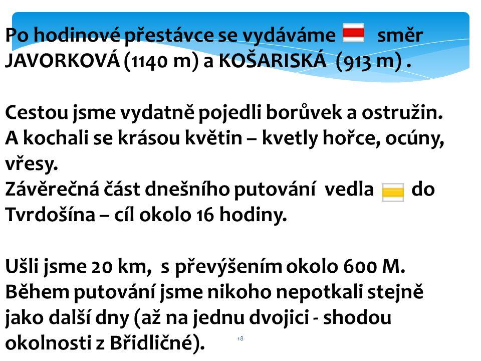 18 Po hodinové přestávce se vydáváme směr JAVORKOVÁ (1140 m) a KOŠARISKÁ (913 m). Cestou jsme vydatně pojedli borůvek a ostružin. A kochali se krásou