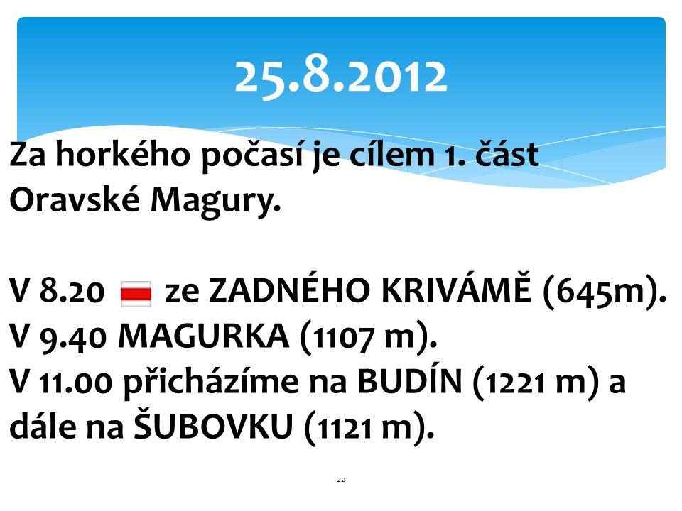 25.8.2012 Za horkého počasí je cílem 1. část Oravské Magury. V 8.20 ze ZADNÉHO KRIVÁMĚ (645m). V 9.40 MAGURKA (1107 m). V 11.00 přicházíme na BUDÍN (1