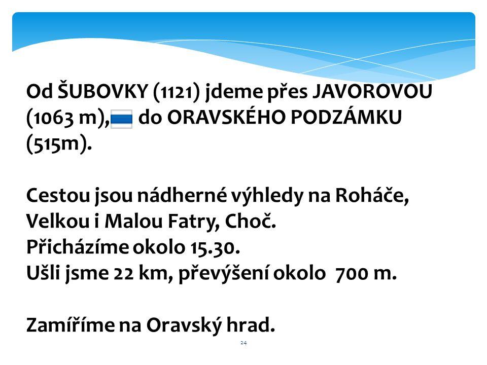 24 Od ŠUBOVKY (1121) jdeme přes JAVOROVOU (1063 m), do ORAVSKÉHO PODZÁMKU (515m). Cestou jsou nádherné výhledy na Roháče, Velkou i Malou Fatry, Choč.