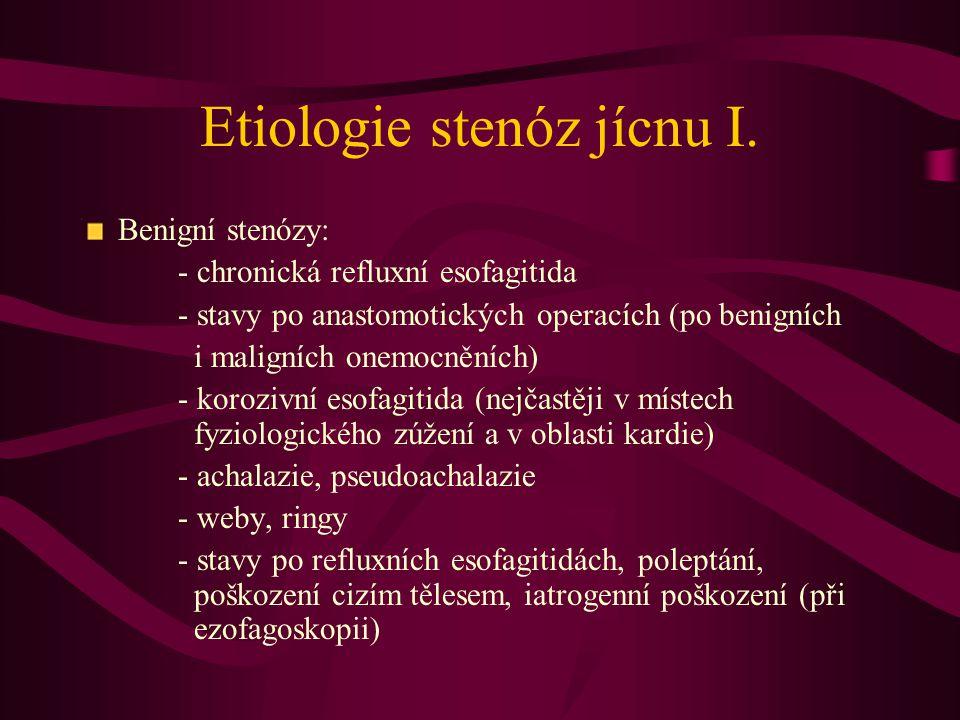 Etiologie stenóz jícnu I. Benigní stenózy: - chronická refluxní esofagitida - stavy po anastomotických operacích (po benigních i maligních onemocněníc