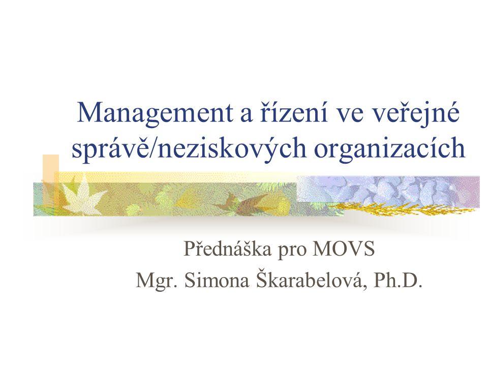 Management a řízení ve veřejné správě/neziskových organizacích Přednáška pro MOVS Mgr.