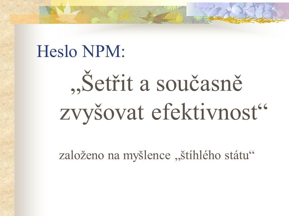 """Heslo NPM: """"Šetřit a současně zvyšovat efektivnost založeno na myšlence """"štíhlého státu"""