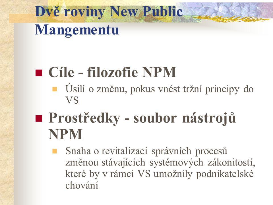 Dvě roviny New Public Mangementu Cíle - filozofie NPM Úsilí o změnu, pokus vnést tržní principy do VS Prostředky - soubor nástrojů NPM Snaha o revitalizaci správních procesů změnou stávajících systémových zákonitostí, které by v rámci VS umožnily podnikatelské chování