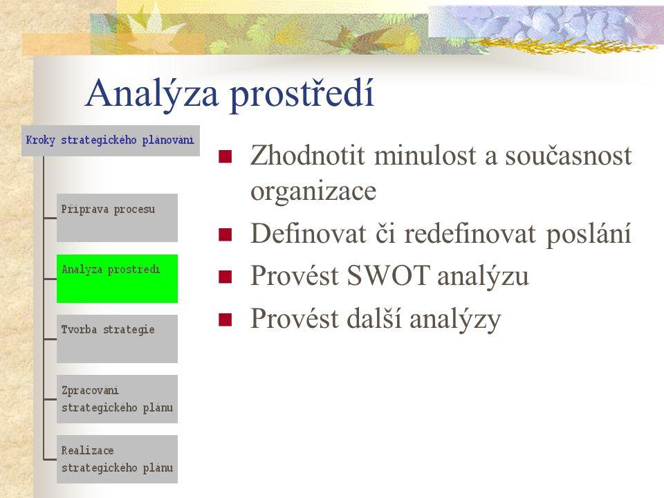 Analýza prostředí Zhodnotit minulost a současnost organizace Definovat či redefinovat poslání Provést SWOT analýzu Provést další analýzy