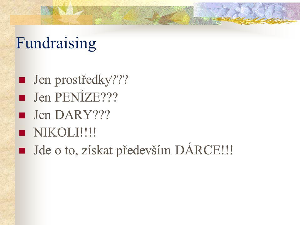 Fundraising Jen prostředky??.Jen PENÍZE??. Jen DARY??.