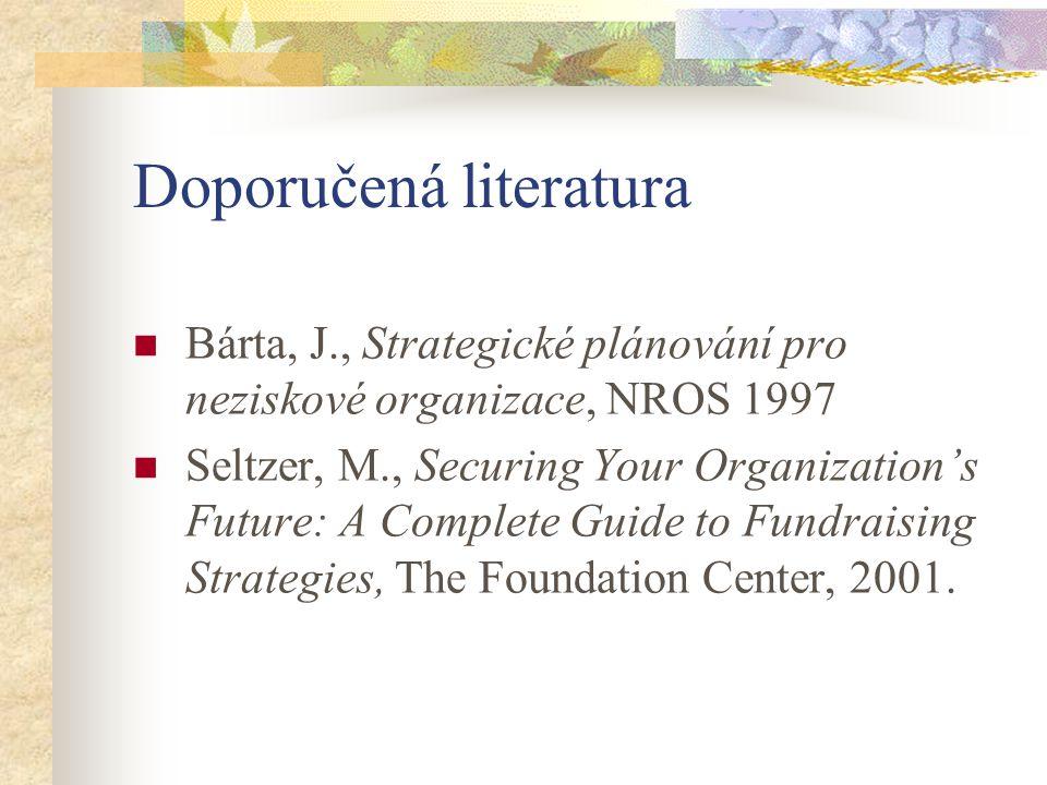 Doporučená literatura Bárta, J., Strategické plánování pro neziskové organizace, NROS 1997 Seltzer, M., Securing Your Organization's Future: A Complete Guide to Fundraising Strategies, The Foundation Center, 2001.