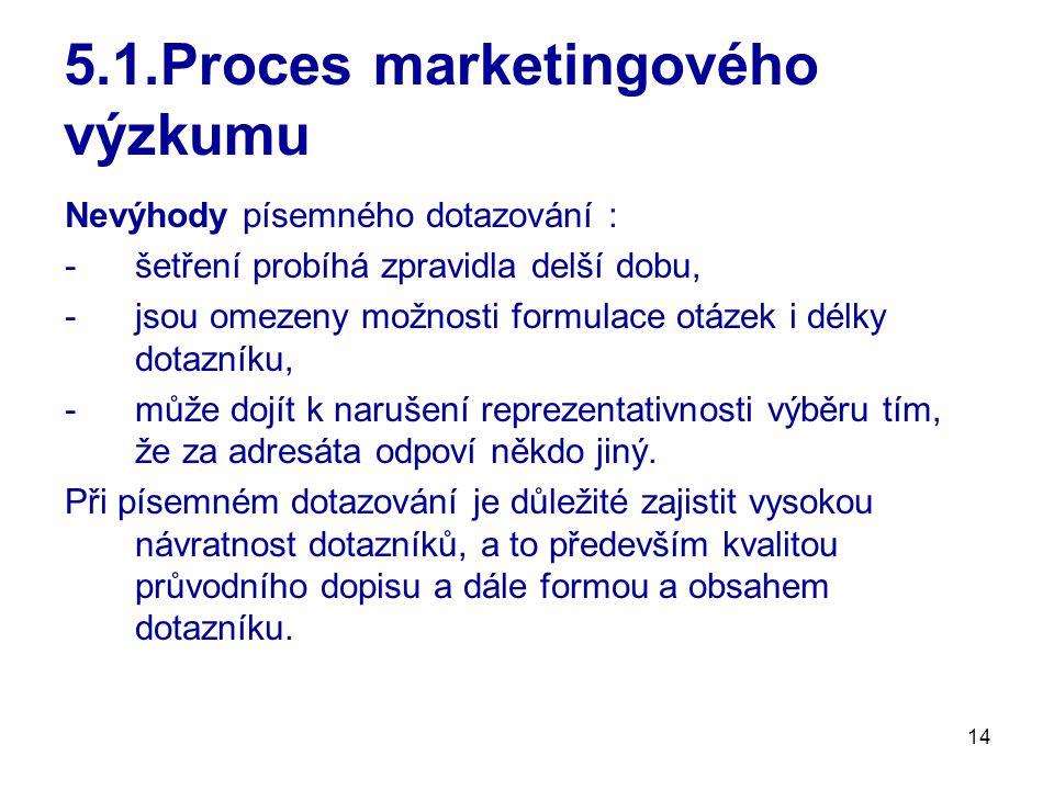 14 5.1.Proces marketingového výzkumu Nevýhody písemného dotazování : -šetření probíhá zpravidla delší dobu, -jsou omezeny možnosti formulace otázek i délky dotazníku, -může dojít k narušení reprezentativnosti výběru tím, že za adresáta odpoví někdo jiný.