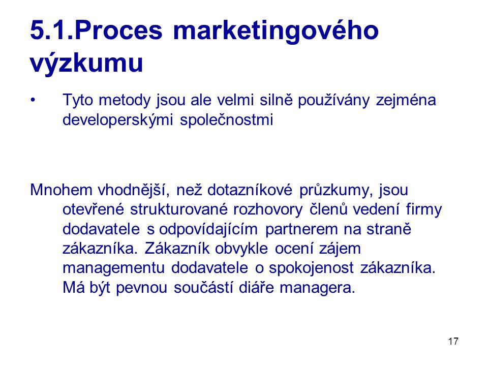17 5.1.Proces marketingového výzkumu Tyto metody jsou ale velmi silně používány zejména developerskými společnostmi Mnohem vhodnější, než dotazníkové průzkumy, jsou otevřené strukturované rozhovory členů vedení firmy dodavatele s odpovídajícím partnerem na straně zákazníka.