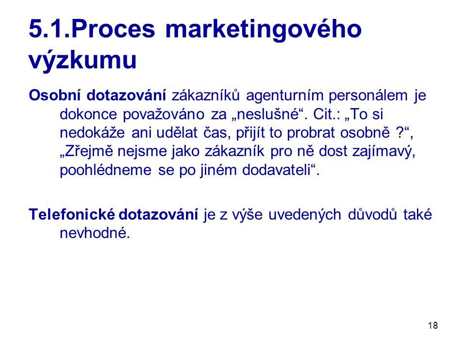 """18 5.1.Proces marketingového výzkumu Osobní dotazování zákazníků agenturním personálem je dokonce považováno za """"neslušné ."""