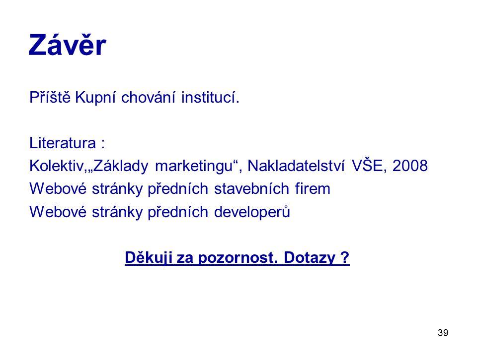 39 Závěr Příště Kupní chování institucí.