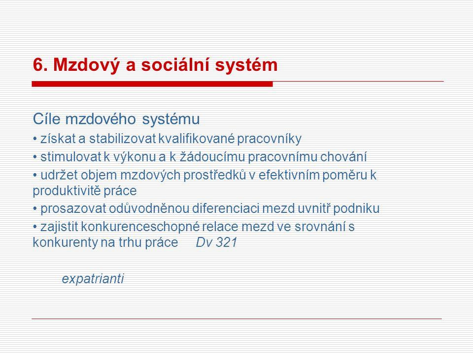 6. Mzdový a sociální systém Cíle mzdového systému získat a stabilizovat kvalifikované pracovníky stimulovat k výkonu a k žádoucímu pracovnímu chování