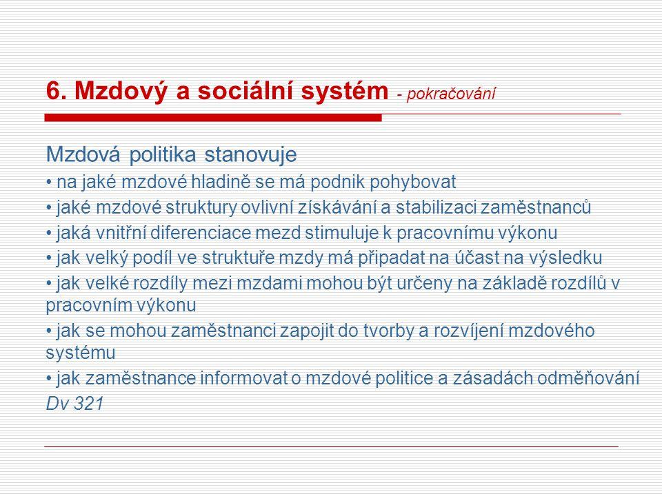 6. Mzdový a sociální systém - pokračování Mzdová politika stanovuje na jaké mzdové hladině se má podnik pohybovat jaké mzdové struktury ovlivní získáv