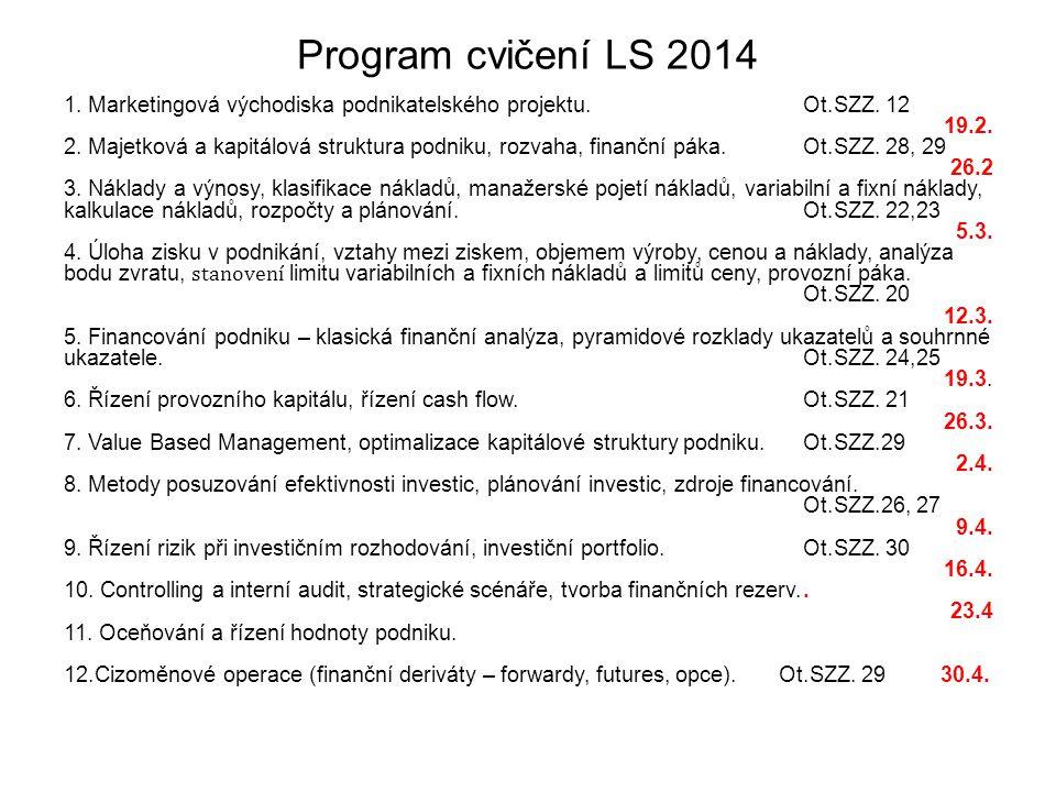 Program cvičení LS 2014 1. Marketingová východiska podnikatelského projektu.Ot.SZZ.