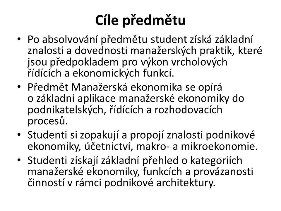 Literatura povinná literatura SYNEK, M.a kol. Manažerská ekonomika.