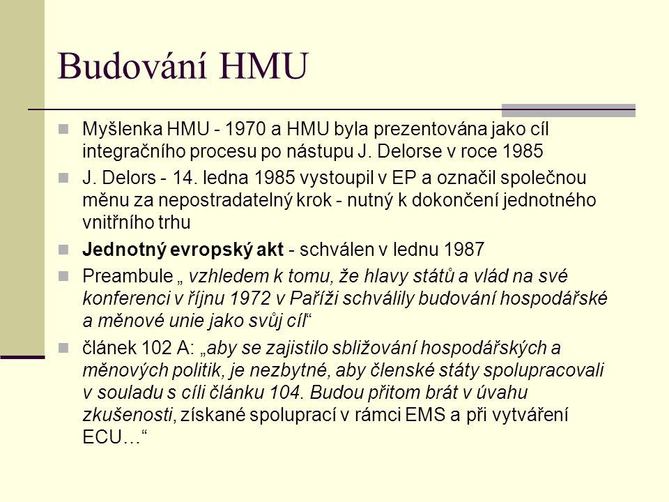 Budování HMU Myšlenka HMU - 1970 a HMU byla prezentována jako cíl integračního procesu po nástupu J.
