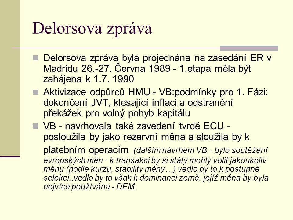Delorsova zpráva Delorsova zpráva byla projednána na zasedání ER v Madridu 26.-27.