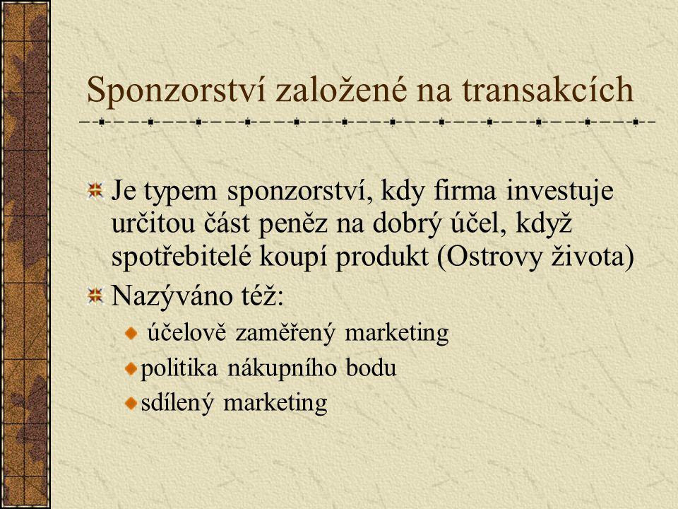 Sponzorství založené na transakcích Je typem sponzorství, kdy firma investuje určitou část peněz na dobrý účel, když spotřebitelé koupí produkt (Ostrovy života) Nazýváno též: účelově zaměřený marketing politika nákupního bodu sdílený marketing