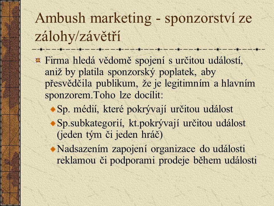 Ambush marketing - sponzorství ze zálohy/závětří Firma hledá vědomě spojení s určitou událostí, aniž by platila sponzorský poplatek, aby přesvědčila publikum, že je legitimním a hlavním sponzorem.Toho lze docílit: Sp.