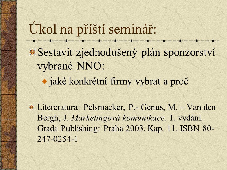Úkol na příští seminář: Sestavit zjednodušený plán sponzorství vybrané NNO: jaké konkrétní firmy vybrat a proč Litereratura: Pelsmacker, P.- Genus, M.