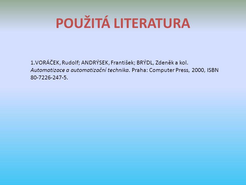POUŽITÁ LITERATURA 1.VORÁČEK, Rudolf; ANDRÝSEK, František; BRÝDL, Zdeněk a kol.