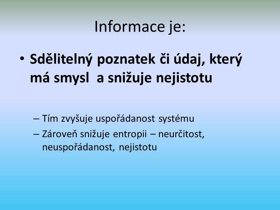 Data – informace - znalosti datainformaceZnalosti Přenáší a zpracovávají odraz skutečnosti Snižují entropii (neurčitost) Umožňují porozumět skutečnosti Tvoří se z nich informace, zpracovatelné informace nebo znalosti.