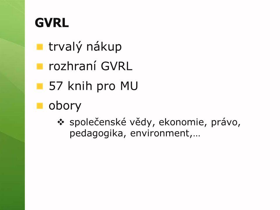 GVRL trvalý nákup rozhraní GVRL 57 knih pro MU obory  společenské vědy, ekonomie, právo, pedagogika, environment,…