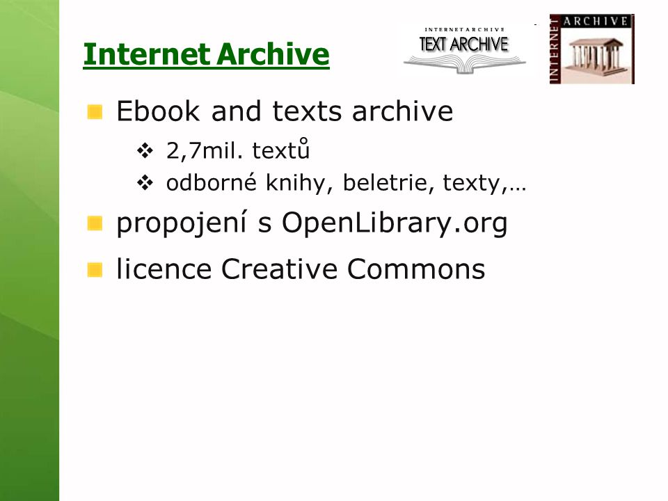Internet Archive Ebook and texts archive  2,7mil.
