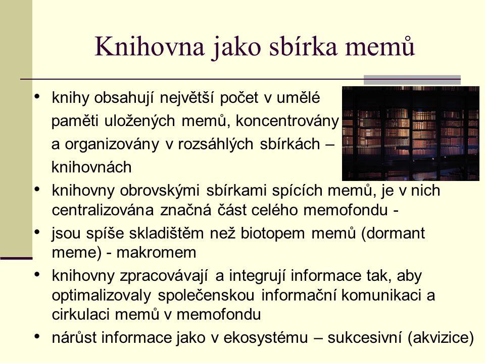 Knihovna jako sbírka memů spojení knihoven do knihovních sítí a propojených informačních systémů snižuje entropii informačních toků, integrací informačních fondů zvyšuje jejich efektivitu opět připomíná v mnohém přírodní ekosystémy - vazby určovány složitým, vícestupňovým potravním řetězcem.