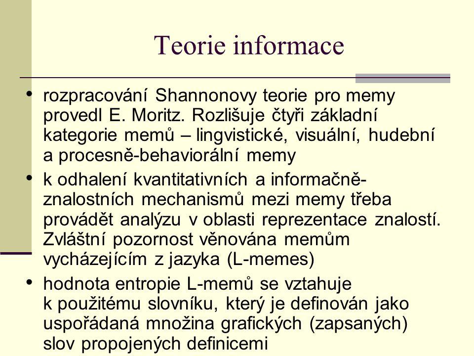 Teorie informace rozpracování Shannonovy teorie pro memy provedl E. Moritz. Rozlišuje čtyři základní kategorie memů – lingvistické, visuální, hudební