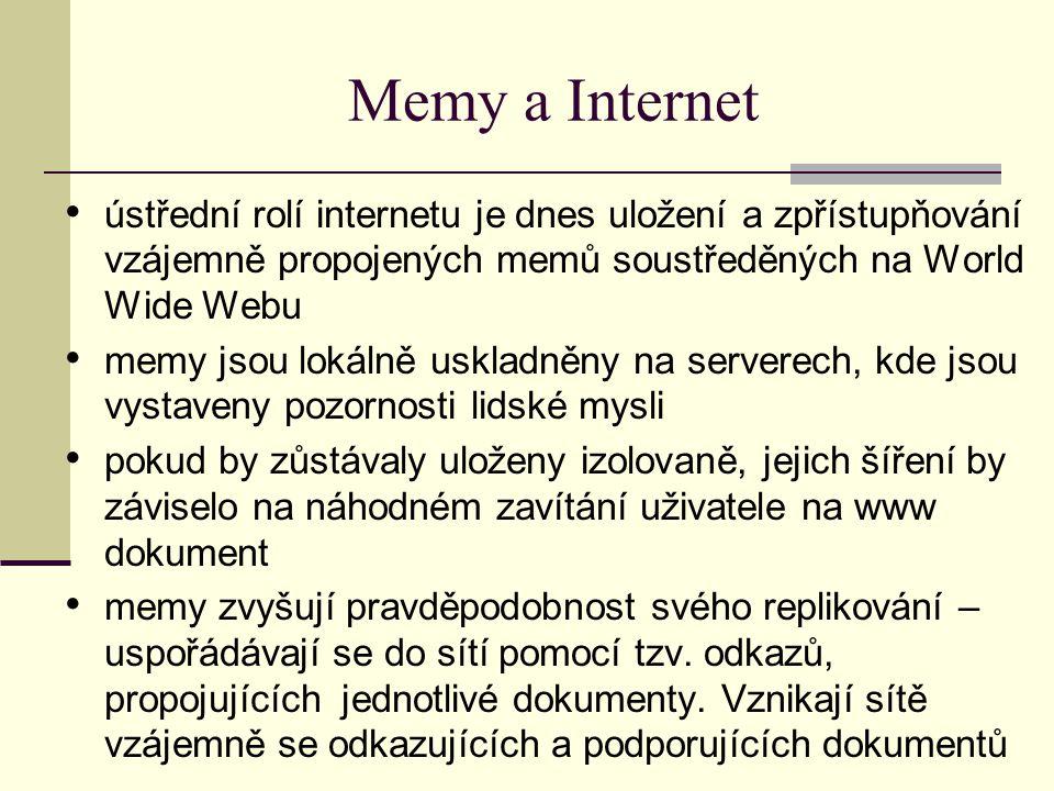 Memy a Internet ústřední rolí internetu je dnes uložení a zpřístupňování vzájemně propojených memů soustředěných na World Wide Webu memy jsou lokálně