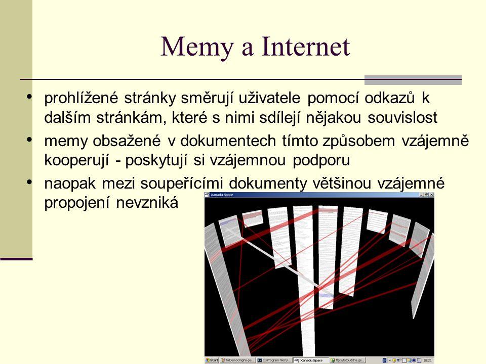 Memy a Internet prohlížené stránky směrují uživatele pomocí odkazů k dalším stránkám, které s nimi sdílejí nějakou souvislost memy obsažené v dokument