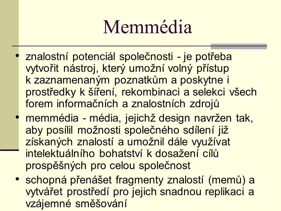 Memmédia znalostní potenciál společnosti - je potřeba vytvořit nástroj, který umožní volný přístup k zaznamenaným poznatkům a poskytne i prostředky k