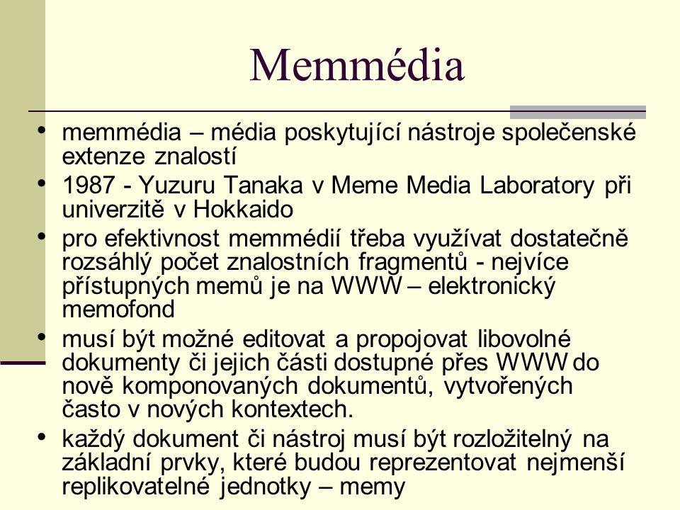 Memmédia memmédia – média poskytující nástroje společenské extenze znalostí 1987 - Yuzuru Tanaka v Meme Media Laboratory při univerzitě v Hokkaido pro