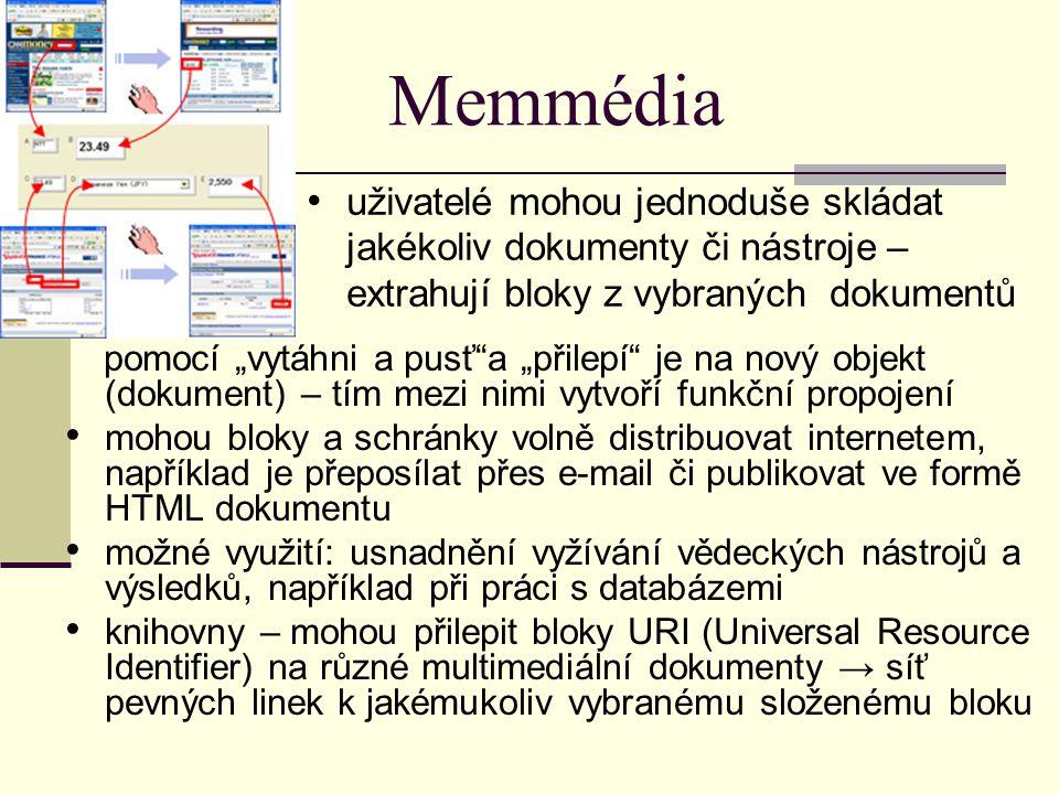 """Memmédia pomocí """"vytáhni a pusť""""a """"přilepí"""" je na nový objekt (dokument) – tím mezi nimi vytvoří funkční propojení mohou bloky a schránky volně distri"""