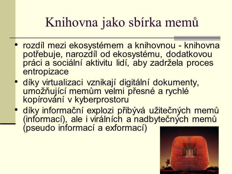 Knihovna jako sbírka memů rozdíl mezi ekosystémem a knihovnou - knihovna potřebuje, narozdíl od ekosystému, dodatkovou práci a sociální aktivitu lidí,