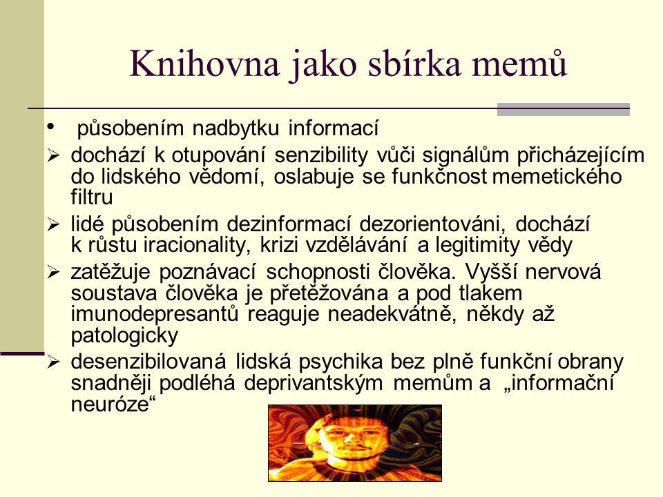 Memetika a bibliometrie Dawkinsův příklad plodnosti memů – šíření vědeckých memů v komunitě vědců a badatelů vědecká myšlenka přežívá, pokud se pravidelně výskytuje v odborných časopisech.