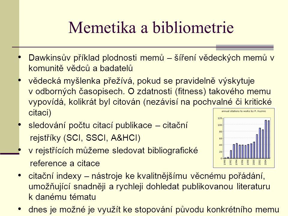 Memetika a bibliometrie dalších využití pro memetické účely - mapování struktury vědy (rejstříky asociovaných idejí, memů), sledování šíření myšlenek mezi vědci můžeme sledovat šíření memů z konkrétního článku, ale i memů konkrétního autora sledování šíření memů určitého autora - součet citací jeho prací v rozmezí několika let  lze zjistit, zda zájem o jeho myšlenky klesá či stoupá  odhadnout budoucí trend v zájmu o jeho vědecké memy, např.