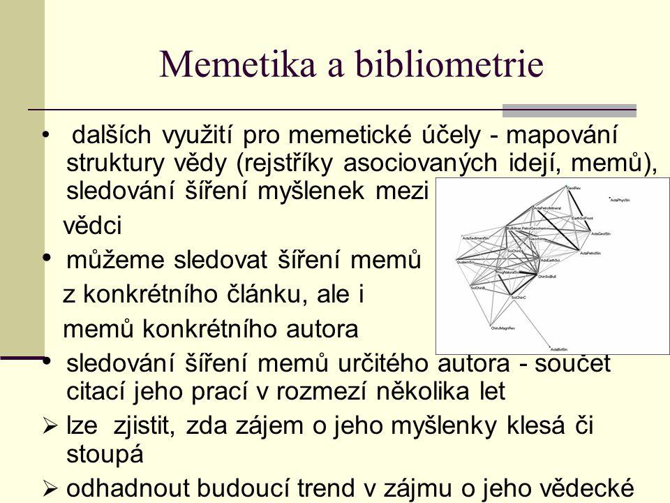Memetika a bibliometrie dalších využití pro memetické účely - mapování struktury vědy (rejstříky asociovaných idejí, memů), sledování šíření myšlenek