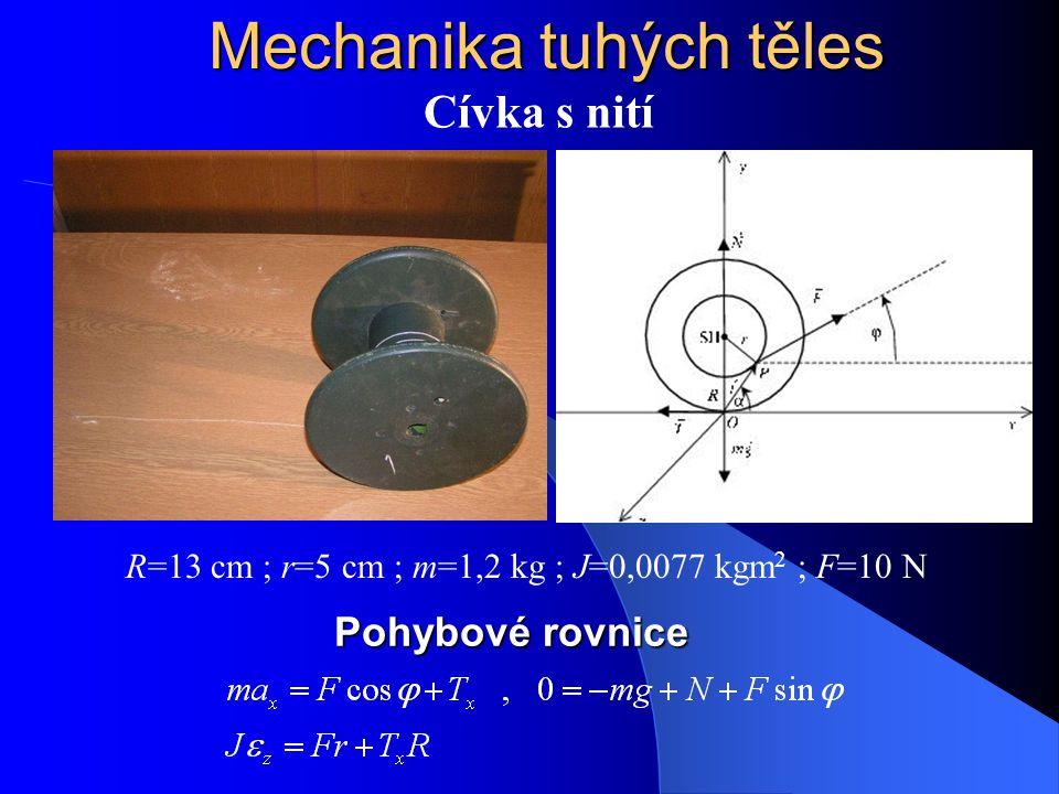 Mechanika tuhých těles Cívka s nití R=13 cm ; r=5 cm ; m=1,2 kg ; J=0,0077 kgm 2 ; F=10 N Pohybové rovnice