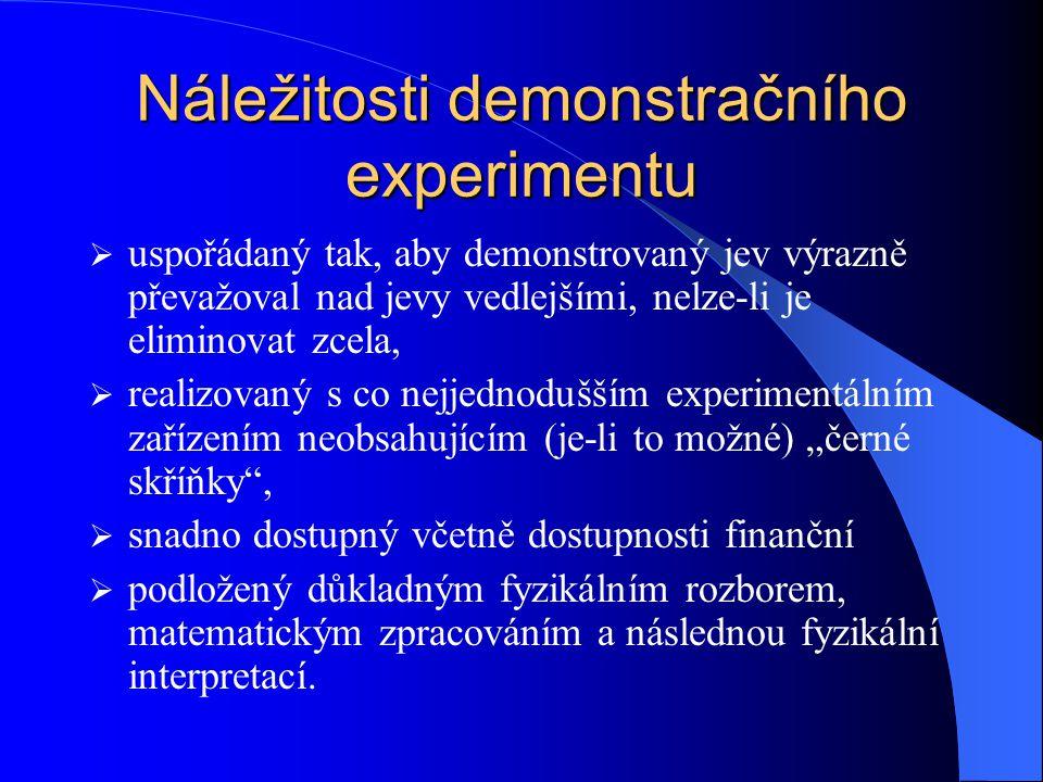 """Náležitosti demonstračního experimentu  uspořádaný tak, aby demonstrovaný jev výrazně převažoval nad jevy vedlejšími, nelze-li je eliminovat zcela,  realizovaný s co nejjednodušším experimentálním zařízením neobsahujícím (je-li to možné) """"černé skříňky ,  snadno dostupný včetně dostupnosti finanční  podložený důkladným fyzikálním rozborem, matematickým zpracováním a následnou fyzikální interpretací."""