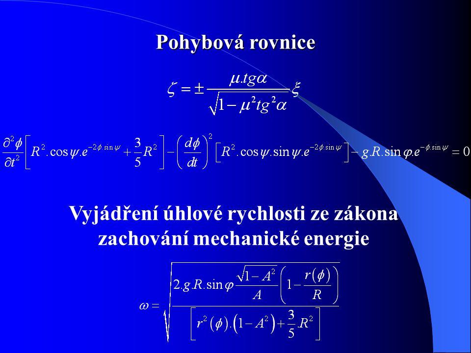 Pohybová rovnice Vyjádření úhlové rychlosti ze zákona zachování mechanické energie