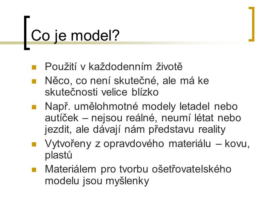 Co je model? Použití v každodenním životě Něco, co není skutečné, ale má ke skutečnosti velice blízko Např. umělohmotné modely letadel nebo autíček –