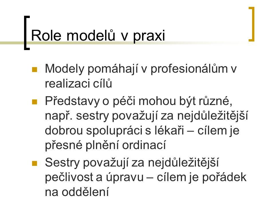 Role modelů v praxi Modely pomáhají v profesionálům v realizaci cílů Představy o péči mohou být různé, např. sestry považují za nejdůležitější dobrou