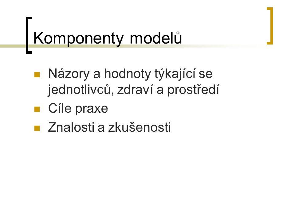 Komponenty modelů Názory a hodnoty týkající se jednotlivců, zdraví a prostředí Cíle praxe Znalosti a zkušenosti