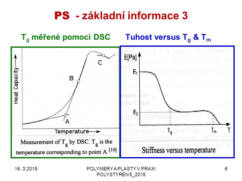 PS - základní informace 3 16. 3.2015POLYMERY A PLASTY V PRAXI POLYSTYRÉN 5_2015 6 Tuhost versus T g & T m T g měřené pomocí DSC