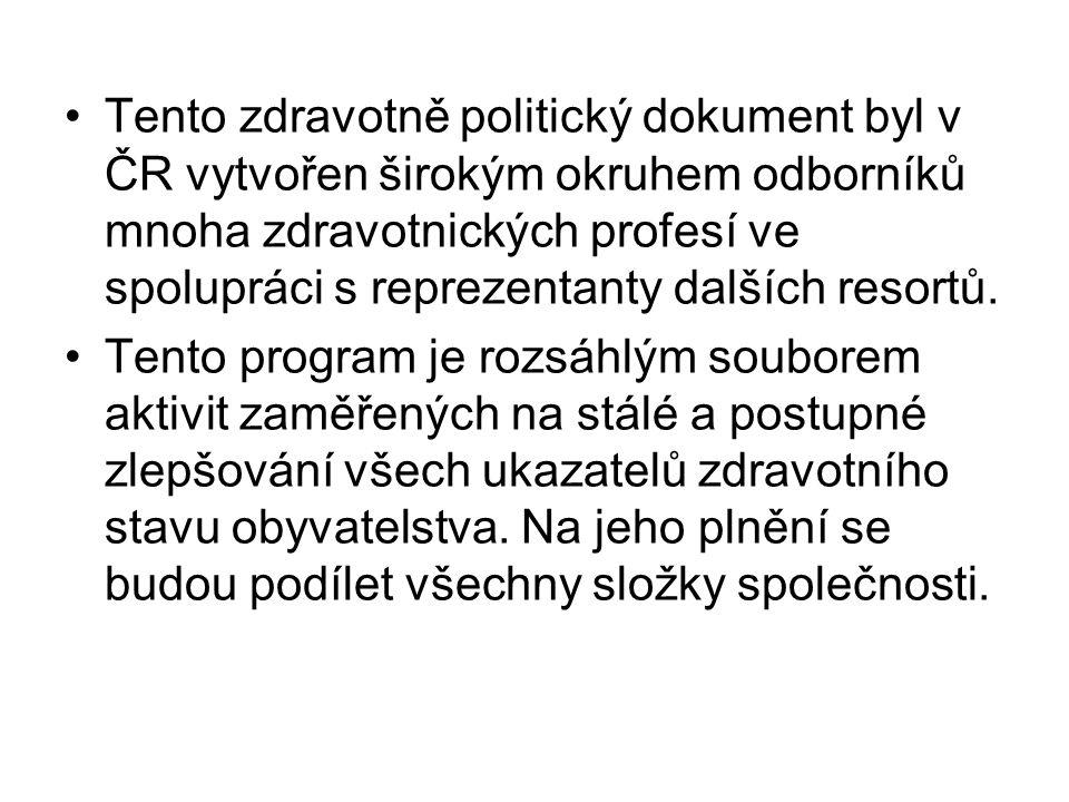 Tento zdravotně politický dokument byl v ČR vytvořen širokým okruhem odborníků mnoha zdravotnických profesí ve spolupráci s reprezentanty dalších reso