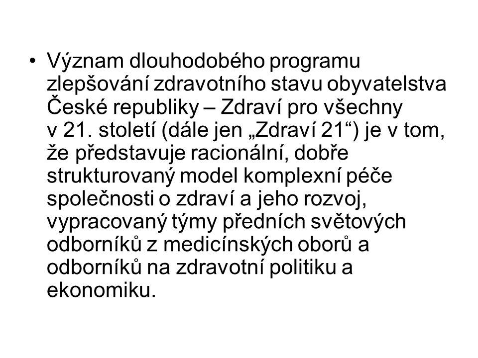"""Význam dlouhodobého programu zlepšování zdravotního stavu obyvatelstva České republiky – Zdraví pro všechny v 21. století (dále jen """"Zdraví 21"""") je v"""